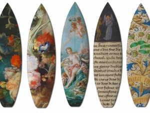 Skateboards e tavole da surf incontrano dipinti iconici