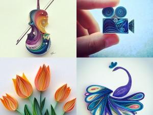 Meravigliosi quillings di filigrana di carta in un apoteosi di colori